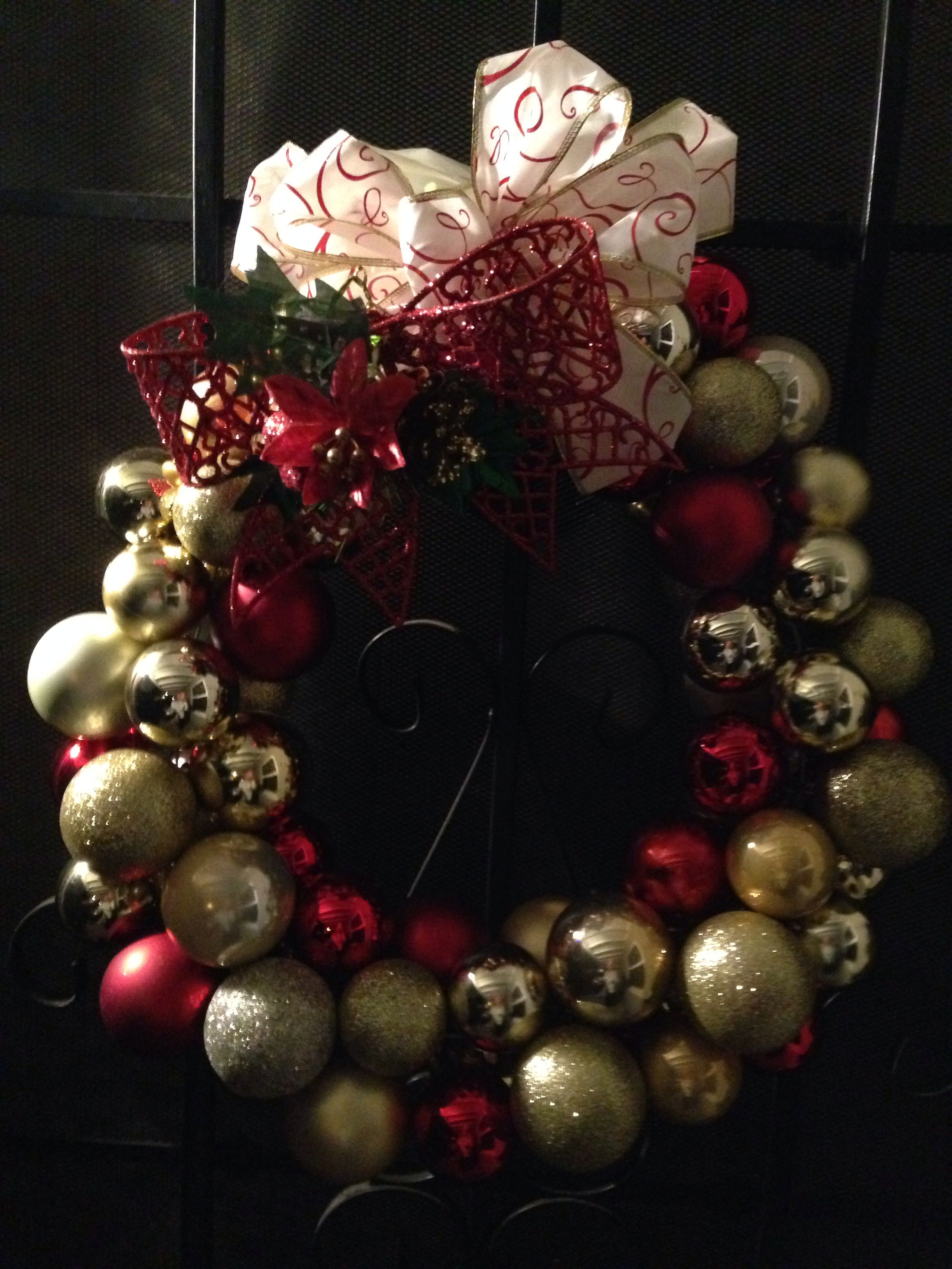 My Christmas Red and Gold Ornament Wreath