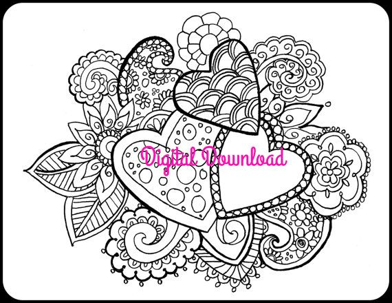 Coloring Book Art Therapy Hearts Paisley Butterflies Calming Anti Stress For Adult Kids Printable Ebook Booklet PDF Digital Download