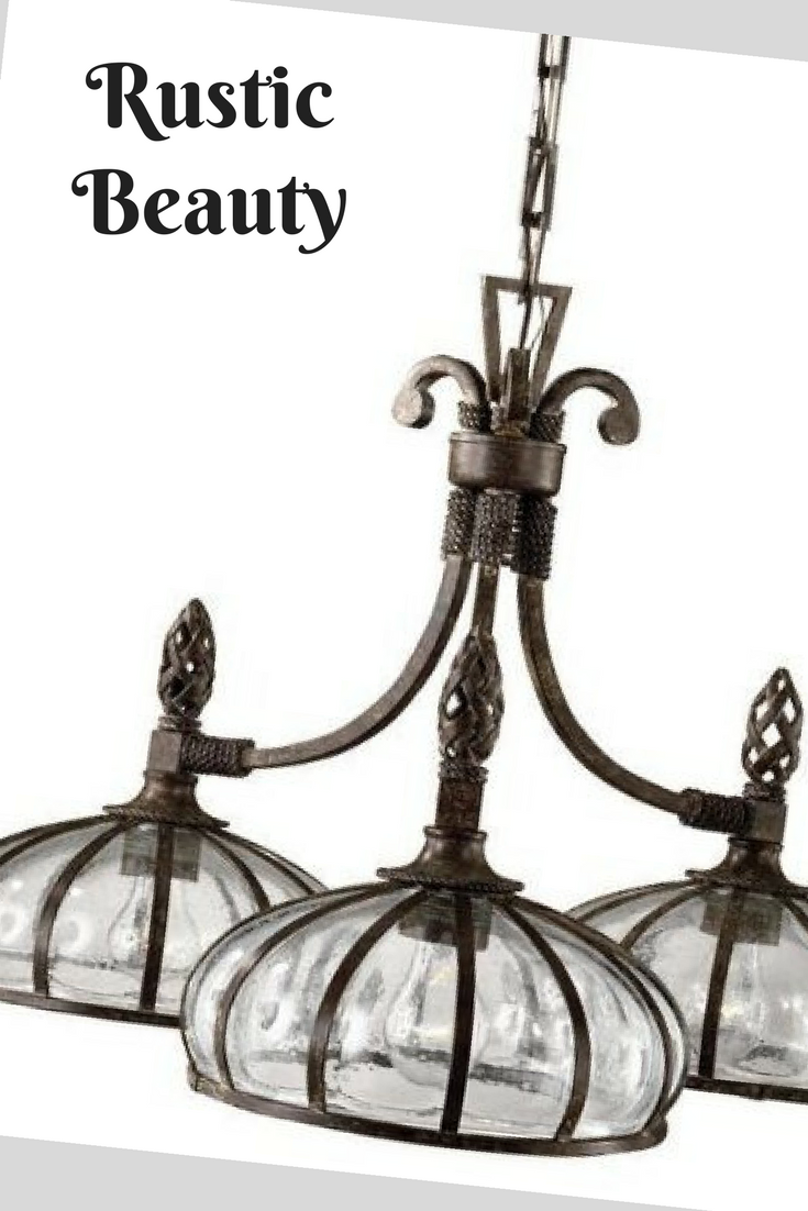 Galeana 3 light iron downlight chandelier with mouth blown glass galeana 3 light iron downlight chandelier with mouth blown glassis elegant chandelier features mouth blown glass banded and structured with iron arubaitofo Images