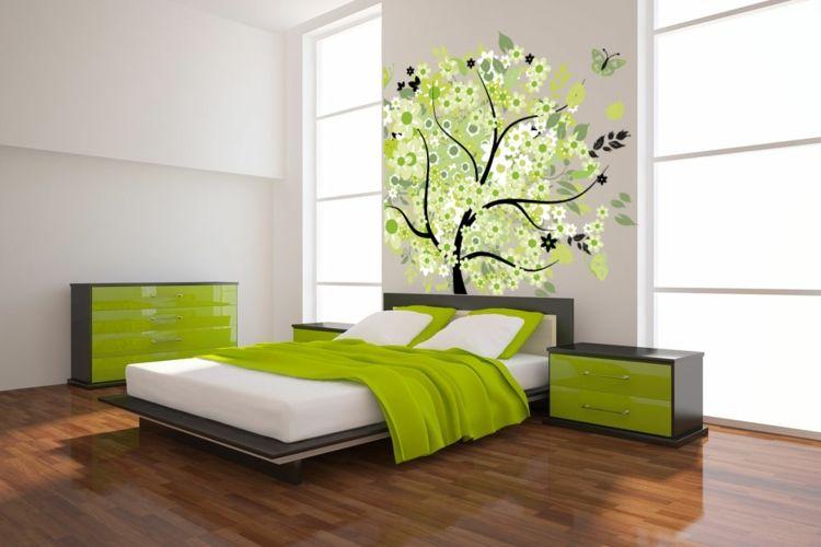 Weiß Grünes Schlafzimmer Design Ideas