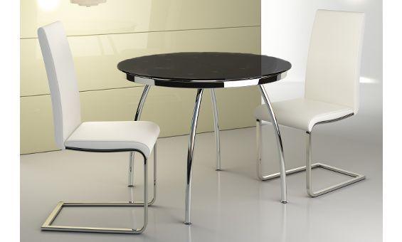 Mesa de cristal redonda extensible en color negro 100 x 75 for Mesa redonda de cristal extensible