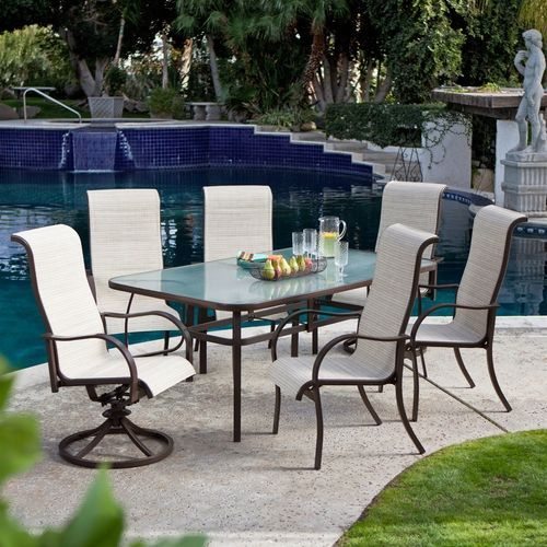72 X 42 Inch Rectangle Patio Dining Table Glass Top Umbrella Hole Patio Dining Table Patio Dining Set Bistro Table Outdoor Glass top patio dining table