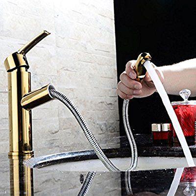 バスルーム 洗面ボウル 洗面台用水栓 綺麗な台所用蛇口 台付 冷熱混合栓 真鍮 黄銅 ハンドシャワー形 ヘッド引き出しタイプ 任意の角度回転可能 ニッケルめっき表面処理 ゴールド色 Mpdk010 洗面 洗面ボウル 洗面台