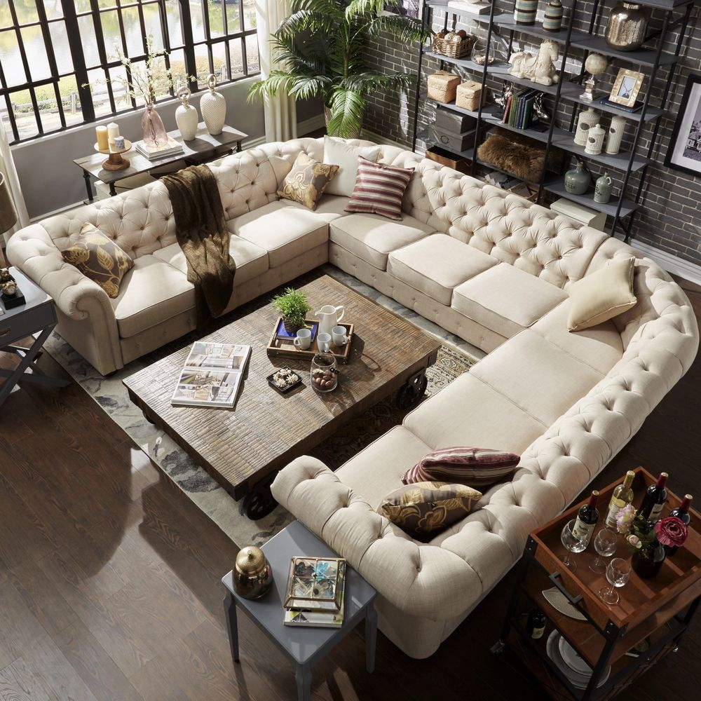 Beige Sectional Sofa Tufted Firm U Shape Living Room ...