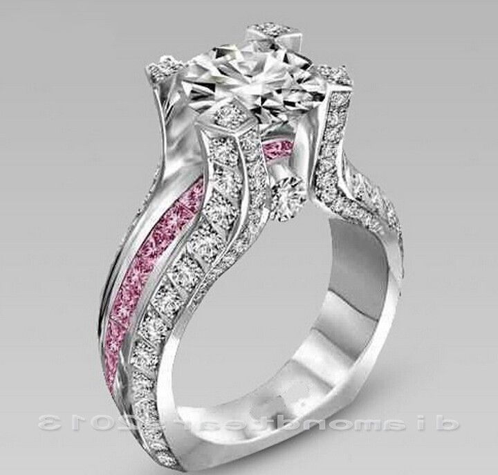 White Gold FilledJewelry Women wedding Bridal Ring Round Cut White Sapphire 5-11