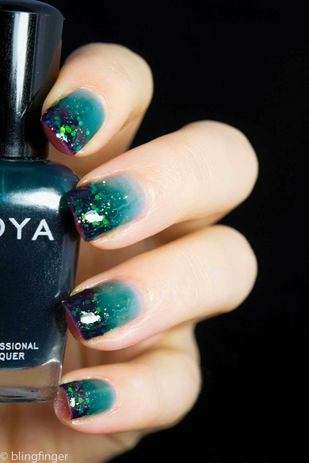 Teal Jelly Gradient with Glitter Tips (Blingfinger) | Teal, Makeup ...