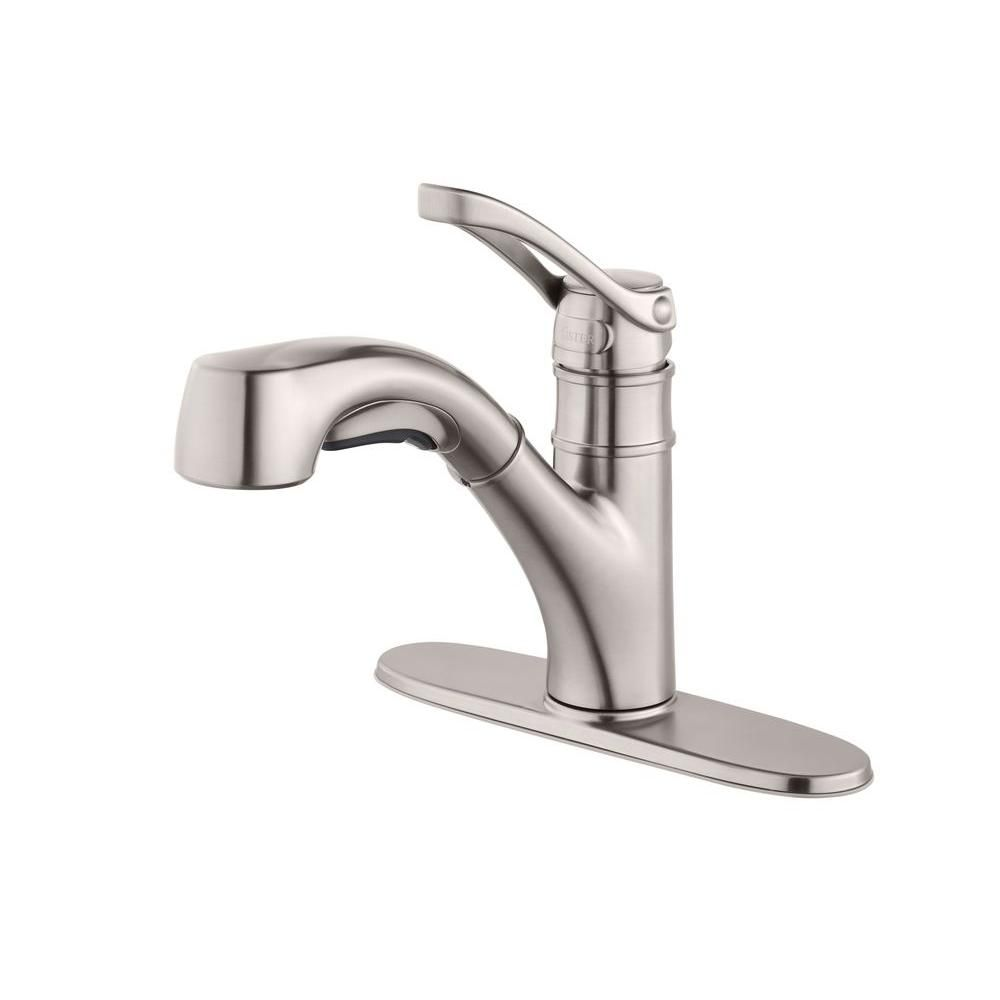 Pfister Prive Single Handle Pull Out Sprayer Kitchen Faucet In