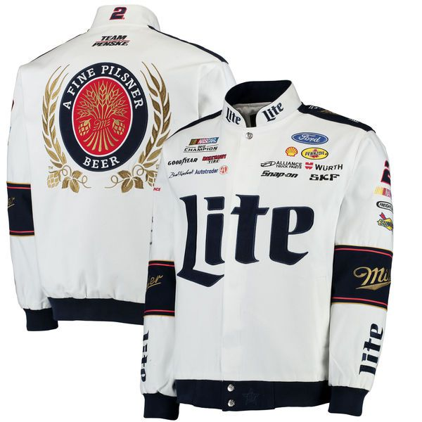 28f7bd97 Men's Brad Keselowski JH Design White/Navy Miller Lite Twill Jacket ...