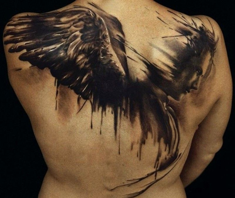Lovely watercolor angel tattoo on back - Tattooimages.biz