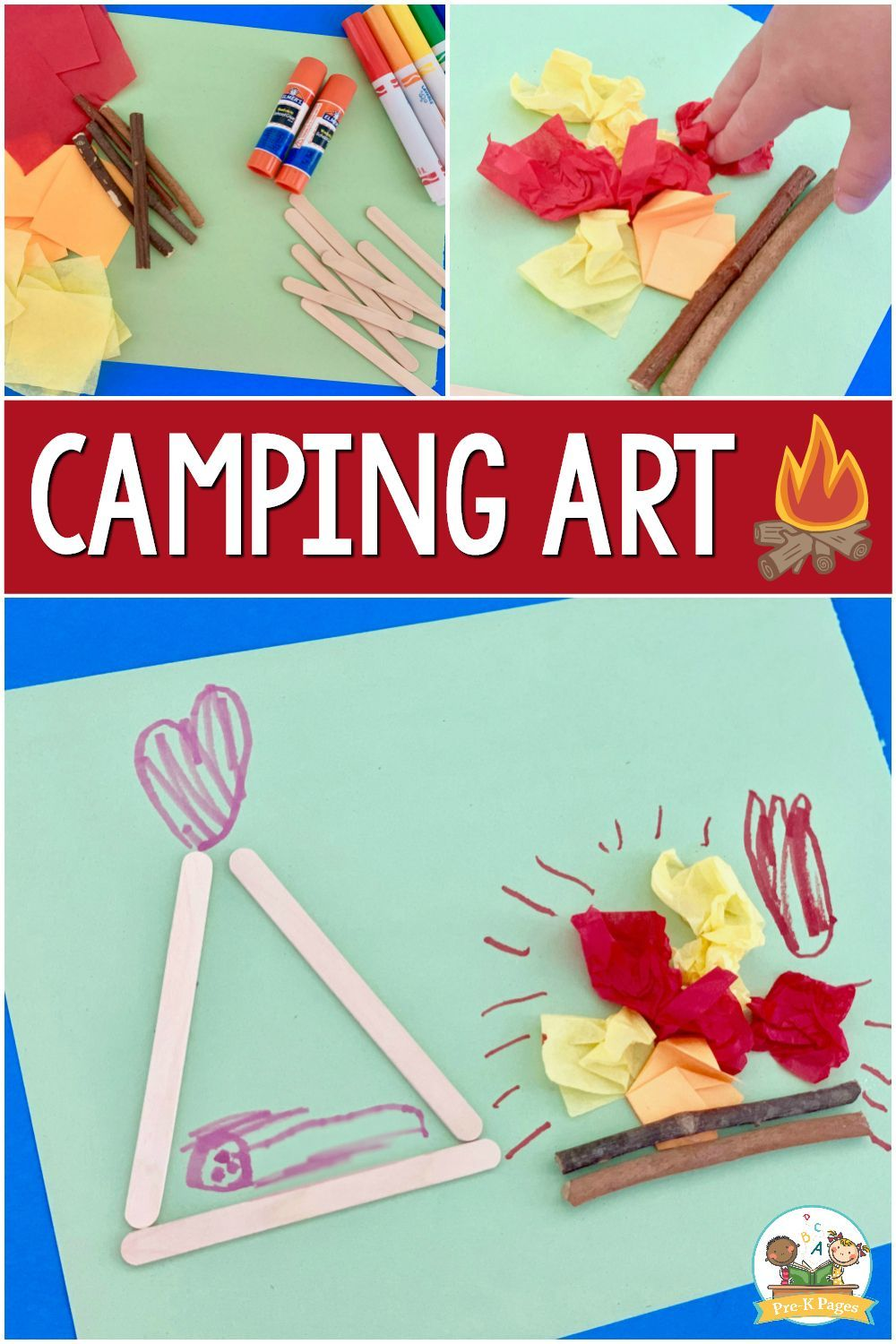 Camping Scene Process Art Activity For Preschoolers Pre K Pages Preschool Art Activities Camping Theme Preschool Camping Preschool