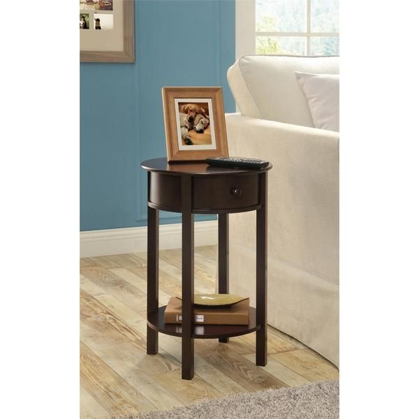 Modern Bedside Couch Side Accent End Table End in Espresso Brown