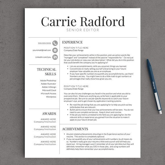 Professional Resume Template for Word  Pages Professional CV - 3 resume formats