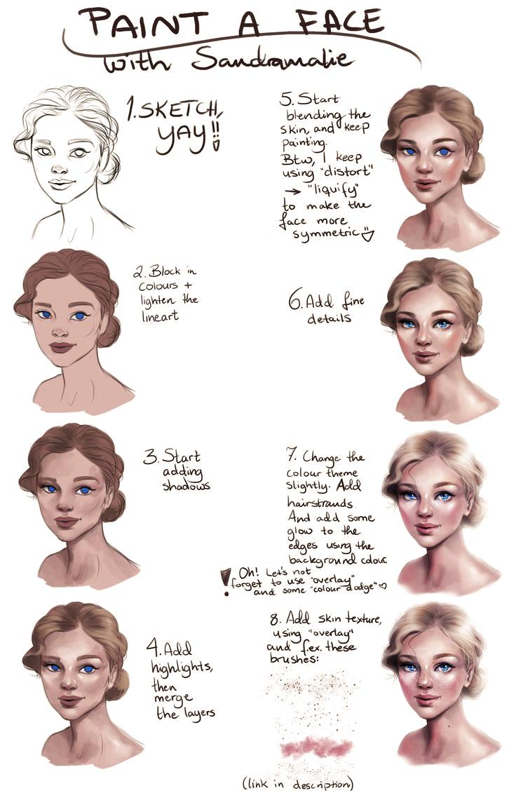 Tutorial: Painting a female face by SandraWinther on DeviantArt,  #DeviantArt #DigitalArt #FACE #Female #Painting #SandraWinther #Tutorial