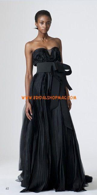 Infromal Fashion Strapless Satin Organza Sash Black Wedding Dress