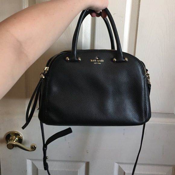Kate Spade Handbag Black Leather Bag With Double Zipper Er On Bags