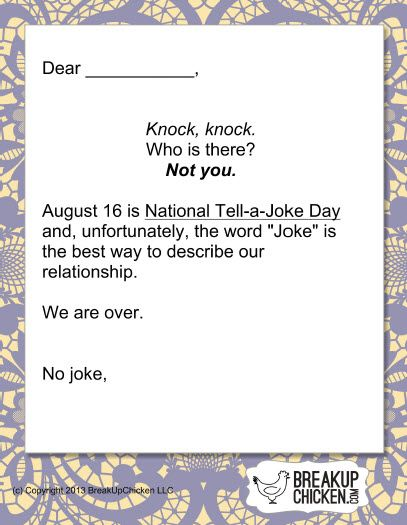 National Tell-A-Joke Day Breakup Letter | Breakup Letters | Pinterest