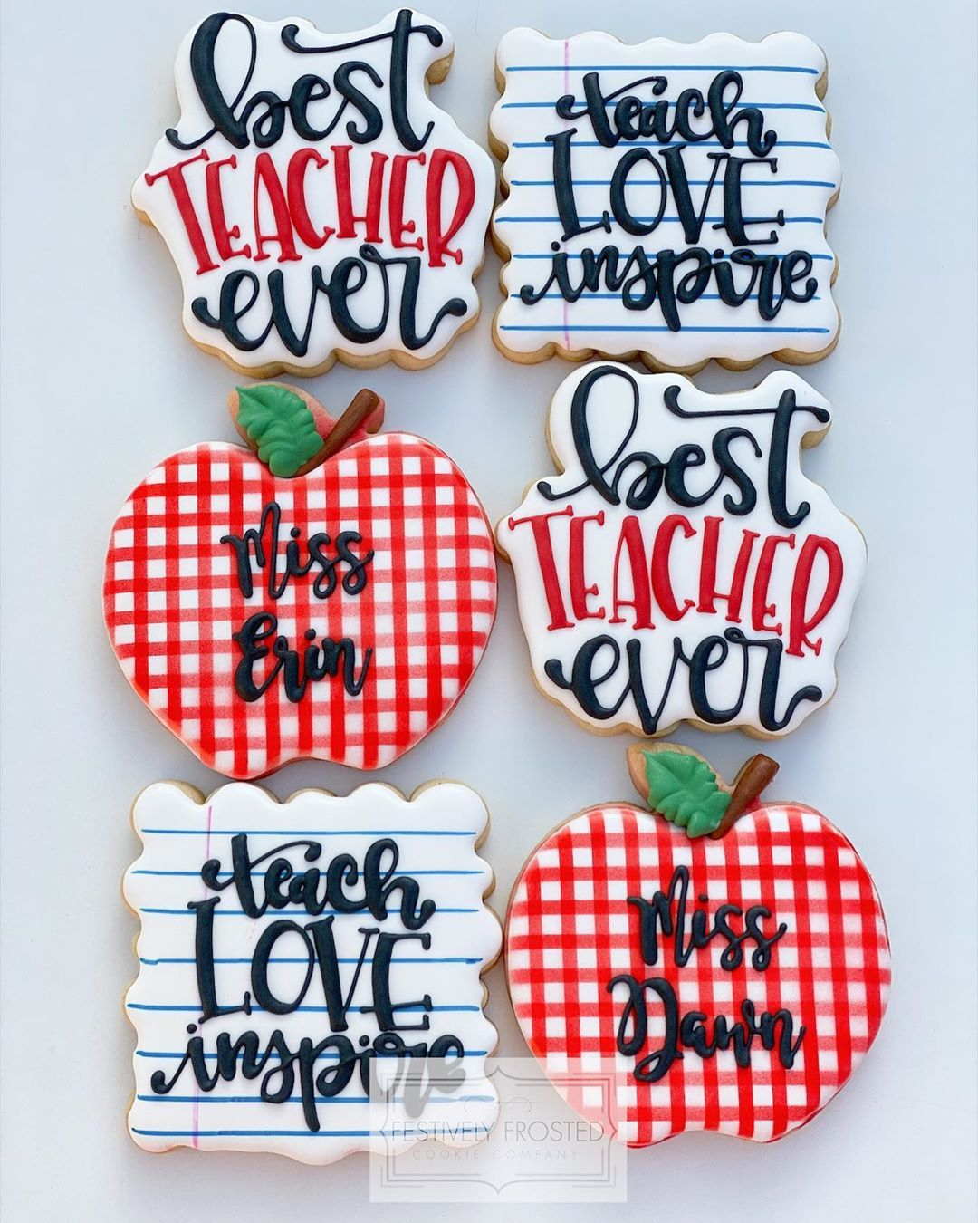 "Jamie Garner on Instagram: ""🍪Teacher Appreciation Cookies🍪 . . . #festivelyfrostedcookieco #decoratedsugarcookies #decoratedcookies #cookiedecorating #teachercookies…"""