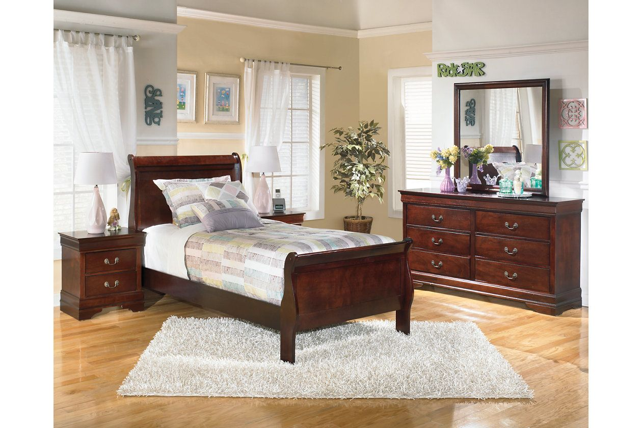 """Alisdair Twin Sleigh Bed with 8"""" Memory Foam Mattress in a"""