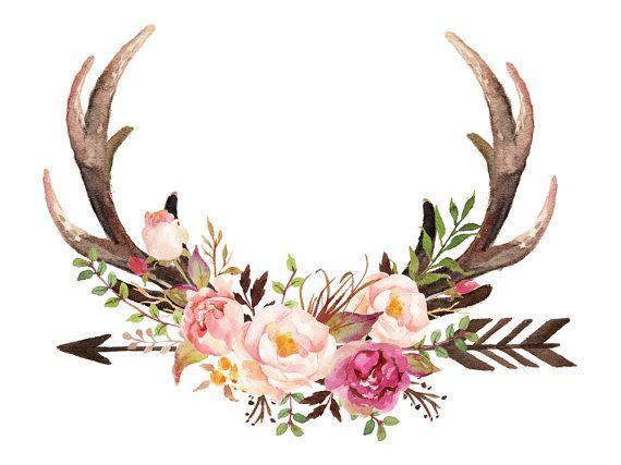 Floral Antler Tattoo: Digital Print, Antlers Print, Watercolour Roses Print