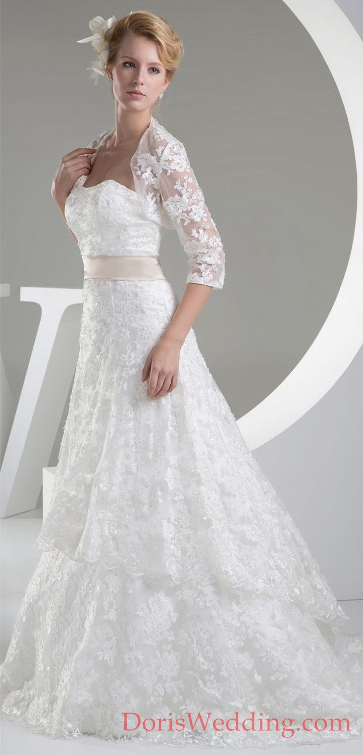 Strapless aline dress with jacket and lace appliques lace