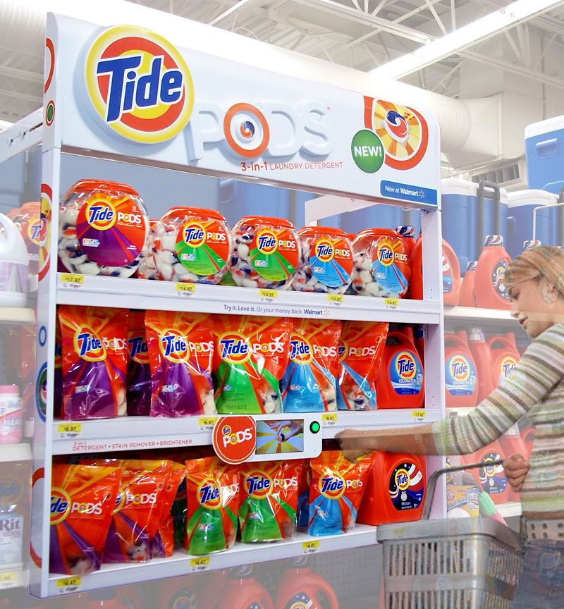 Walmart Tide Pods Product frame with interactive demo/information