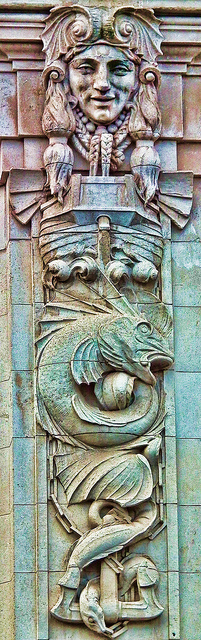 Something Fishy - Detail on the side of Cardiff City Hall
