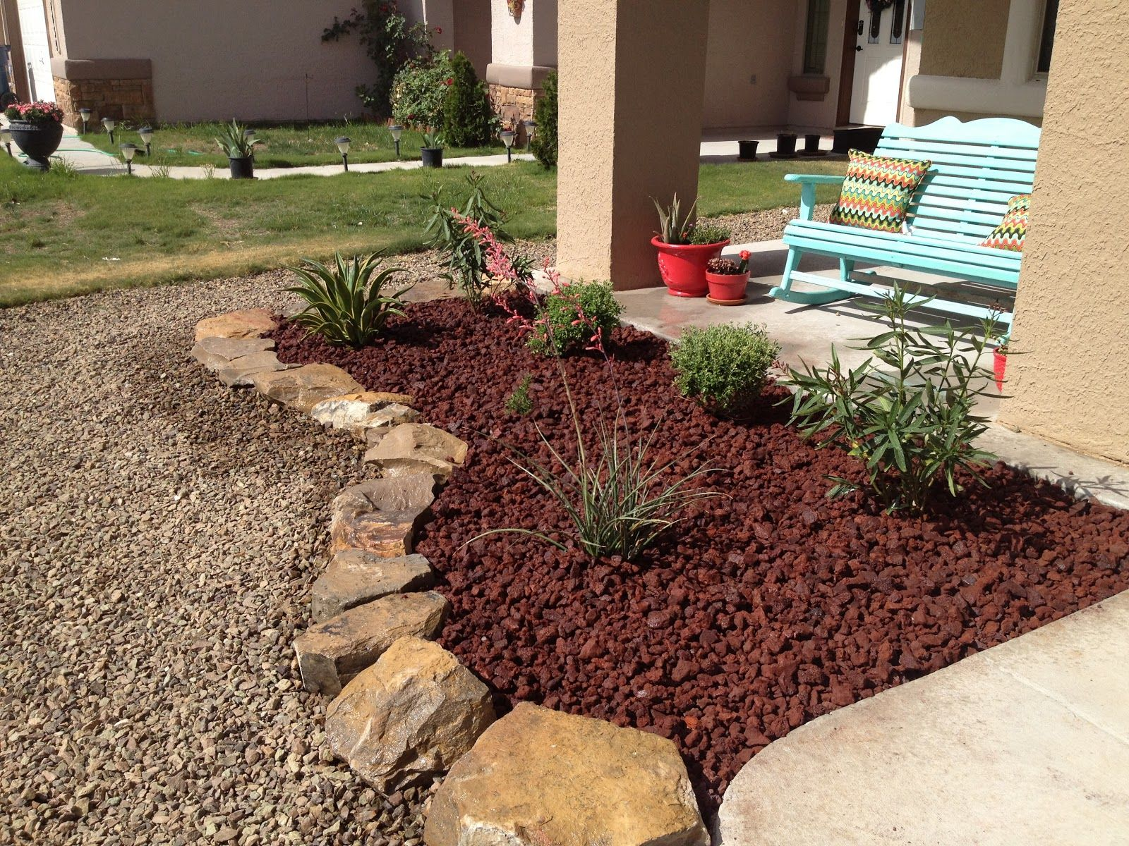 Garden landscaping ideas pictures of landscape inspiration for Rock garden bed ideas