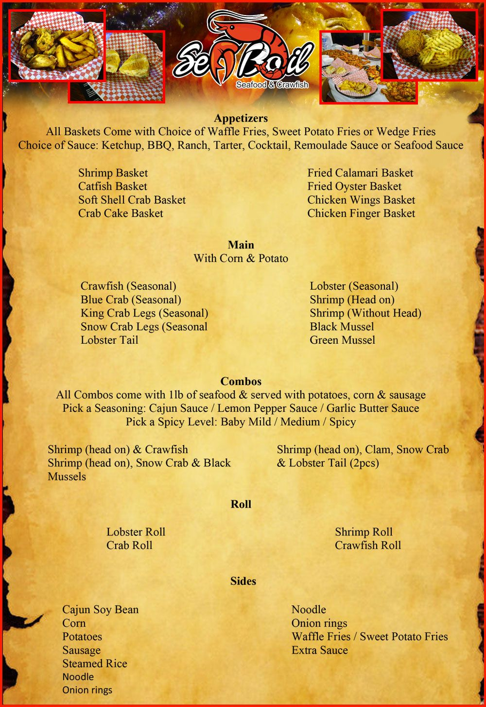 Sea Boil Seafood And Cajun Crawfish Restaurant Menu Daytona Beach Restaurants