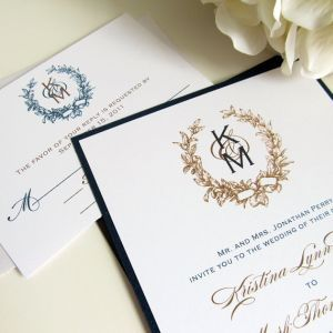 Vintage Monogram Wedding Invitations Wedding Pinterest