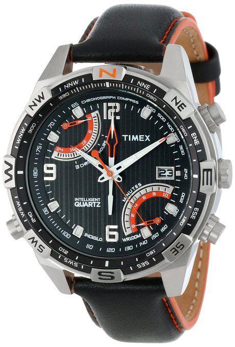 e1d6ba27c64c Correa de cuero Timex T49867 Caballero Inteligente cuarzo Chrono Fly Back  Brújula Negro Reloj