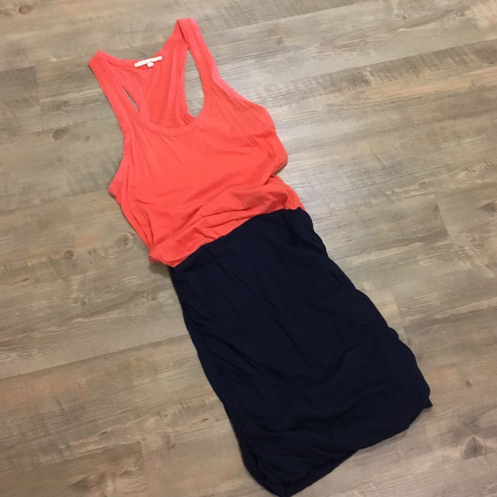 Soft Joie Coral And Navy Colorblock Dress