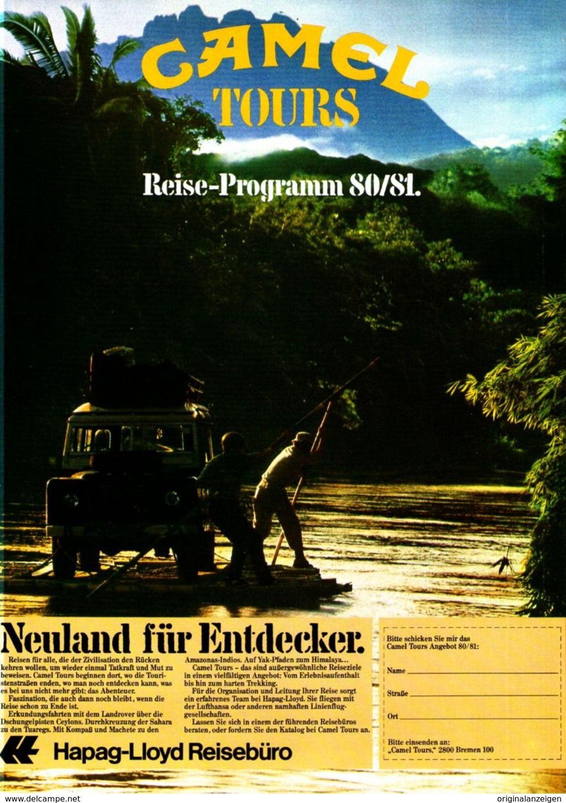 Kostenloser Versand außergewöhnliche Farbpalette außergewöhnliche Auswahl an Stilen Original-Werbung/ Anzeige 1980 - CAMEL TOURS / HAPAG-LLOYD ...