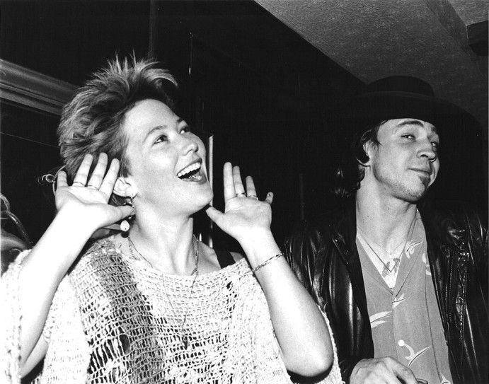Kathy Valentine And Stevie Ray Vaughan, Cute Look On Stevieu0027s Face :)