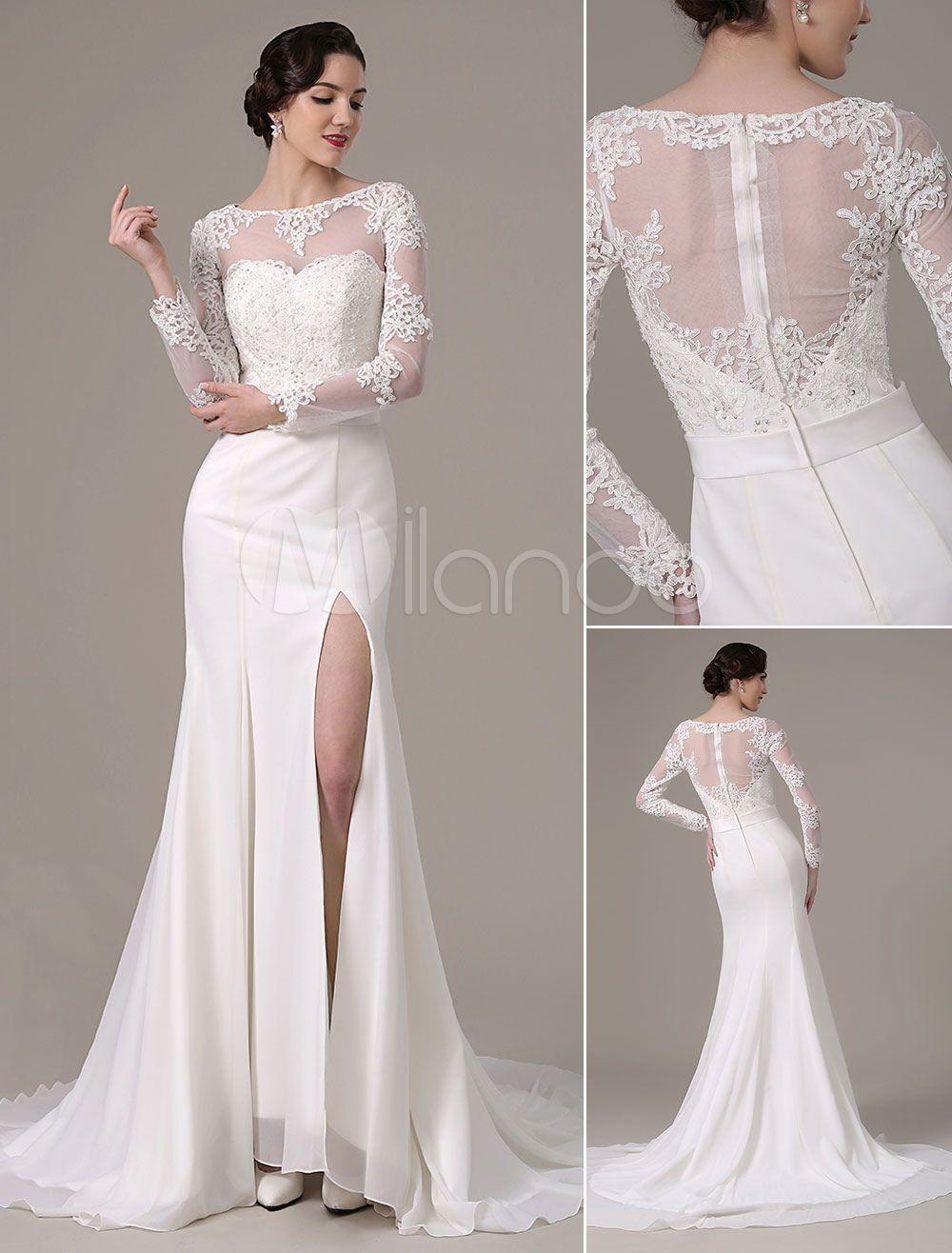 vintage lace wedding dress lange Ärmel bateau hals schiere