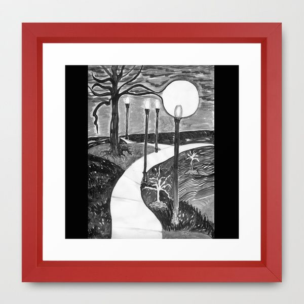 Park At Night framed art print available in different frame finishes (this is vector red) and sizes from mini to x-large. Artsy Craftery Design Studio at Society6. black, white, landscape, park, night, nighttime, dark, dusk, evening, moon, walk, tree, branches, scary, sky, atmosphere, nightmare