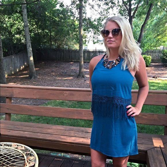 Teal racerback dress with fringe! ⚡️ ⚡️ Lovely color! Crochet detail and light fringe! So chic!  Follow me on Instagram @kfab333 for more items Dresses
