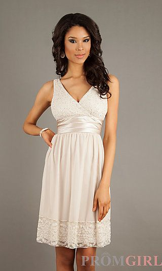 Short V-Neck Lace Embellished Dress at PromGirl.com