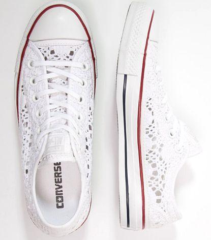 Converse CHUCK TAYLOR ALL STAR Tenisówki i Trampki białe koronkowe ...