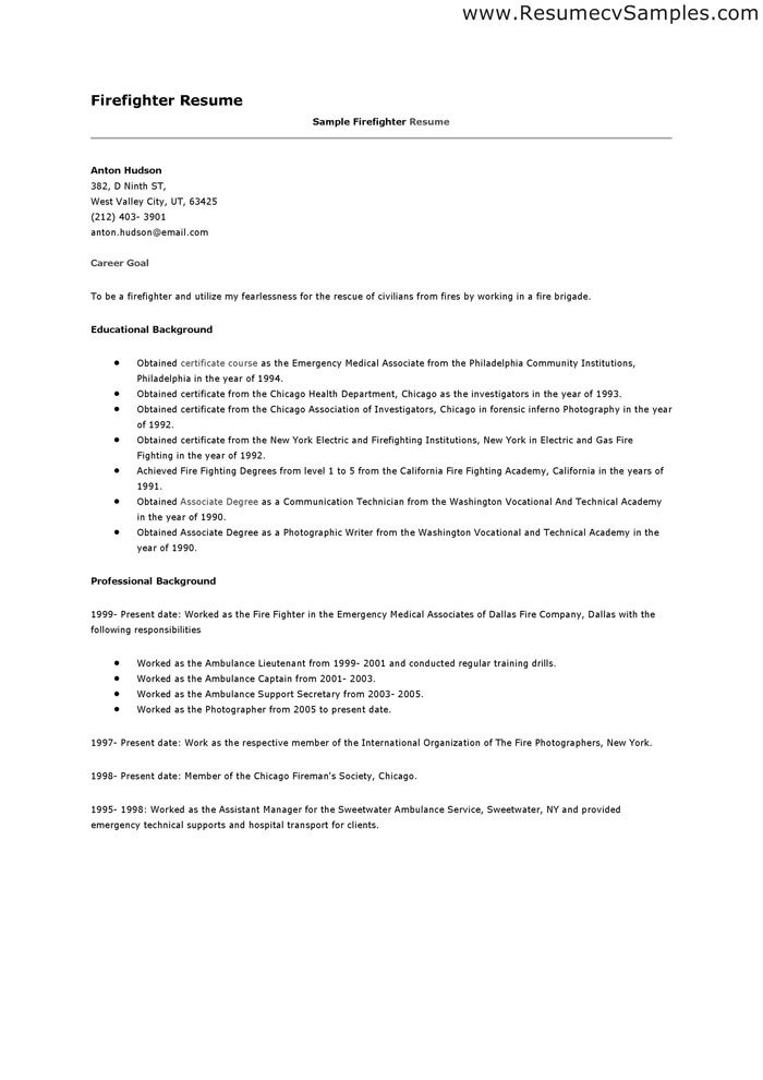 Firefighter Resume Format cakepins.com | Projects to Try | Pinterest ...