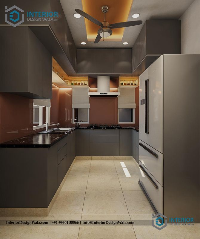 simple u shape kitchen interior with refrigerator and tall unit design by inte kitchen on u kitchen interior id=45104