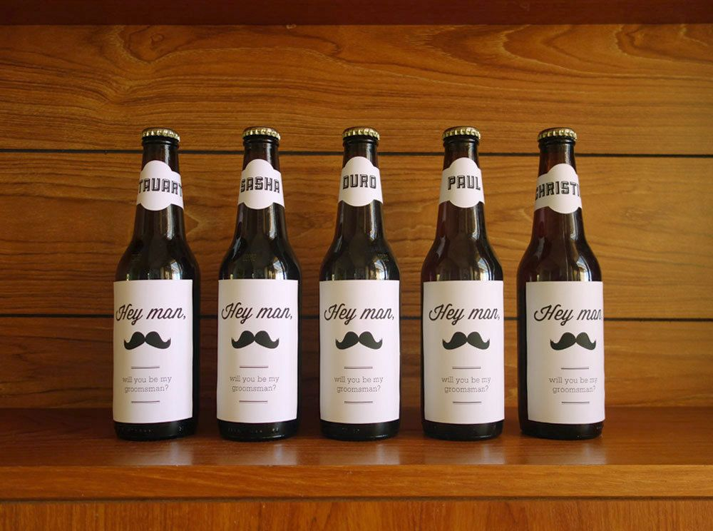 Will You Be My Groomsman Adhesive Labels For Beer Bottles Gift Wedding