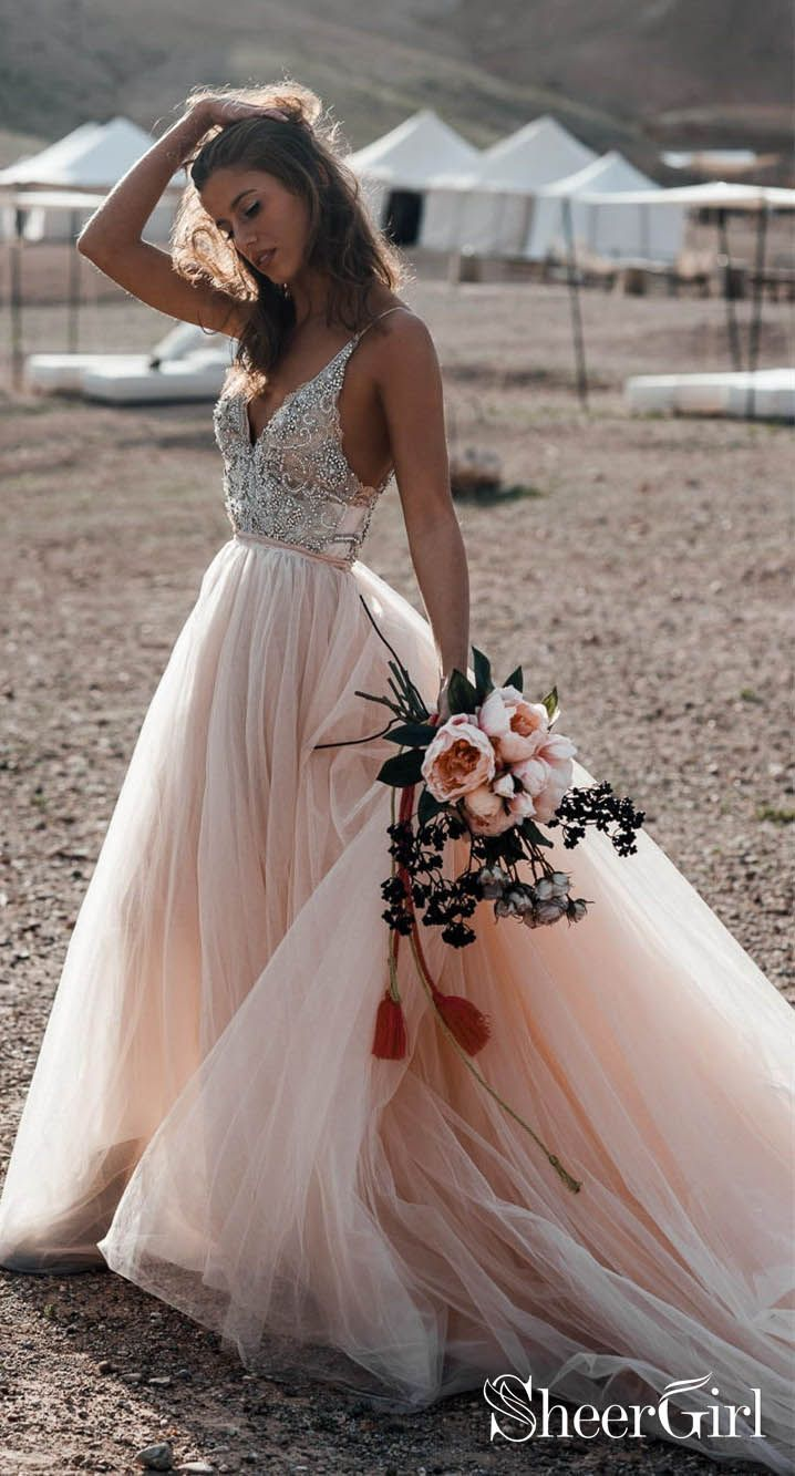Sparkle Beaded Champagne Wedding Dresses A Line Backless Bridal Gown Awd1340 Pink Wedding Gowns Beaded Wedding Gowns Wedding Dresses Beaded