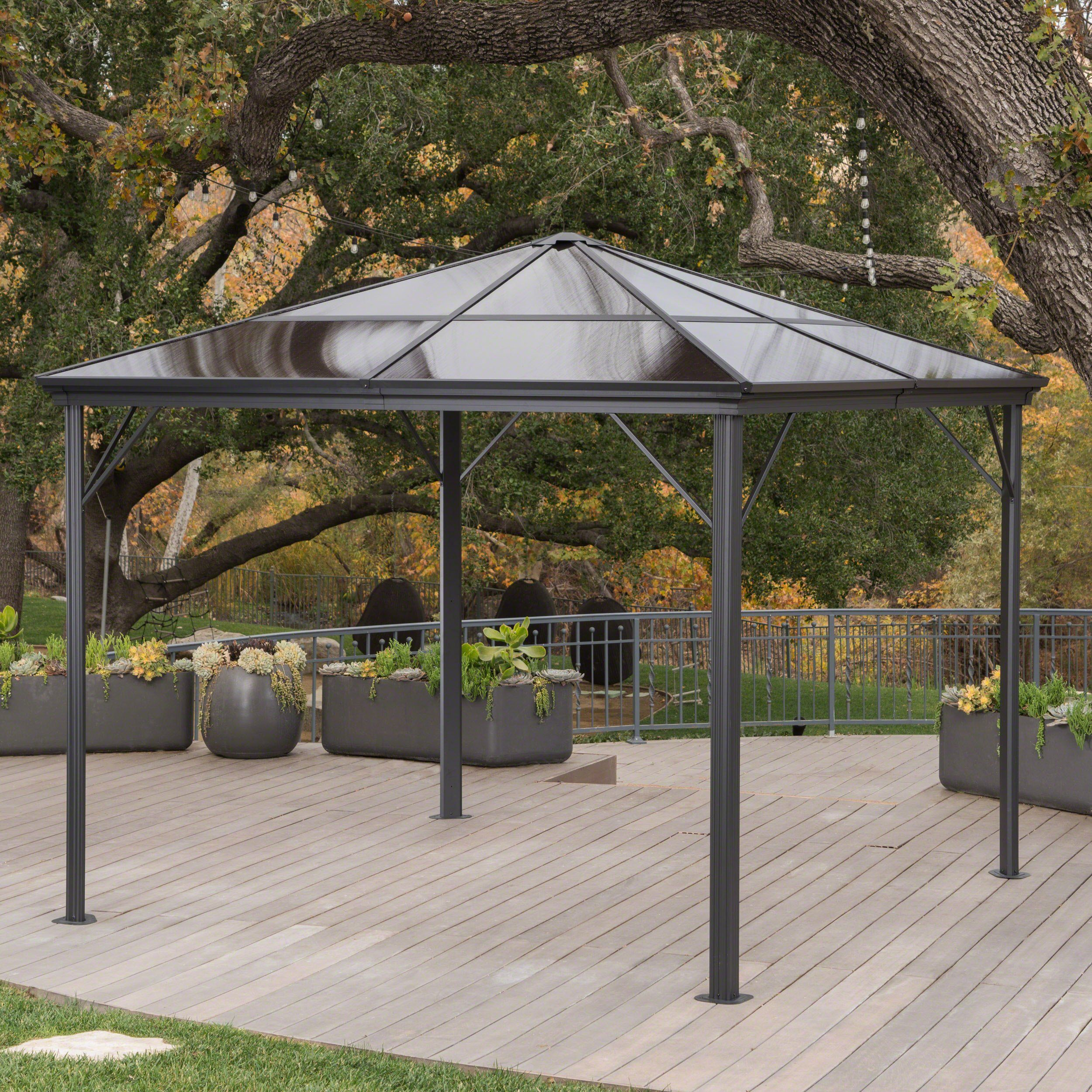 Halley Outdoor 10 X 10 Foot Black Rust Proof Aluminum Framed Hardtop Gazebo No Curtains Patio Patio Gazebo Gazebo