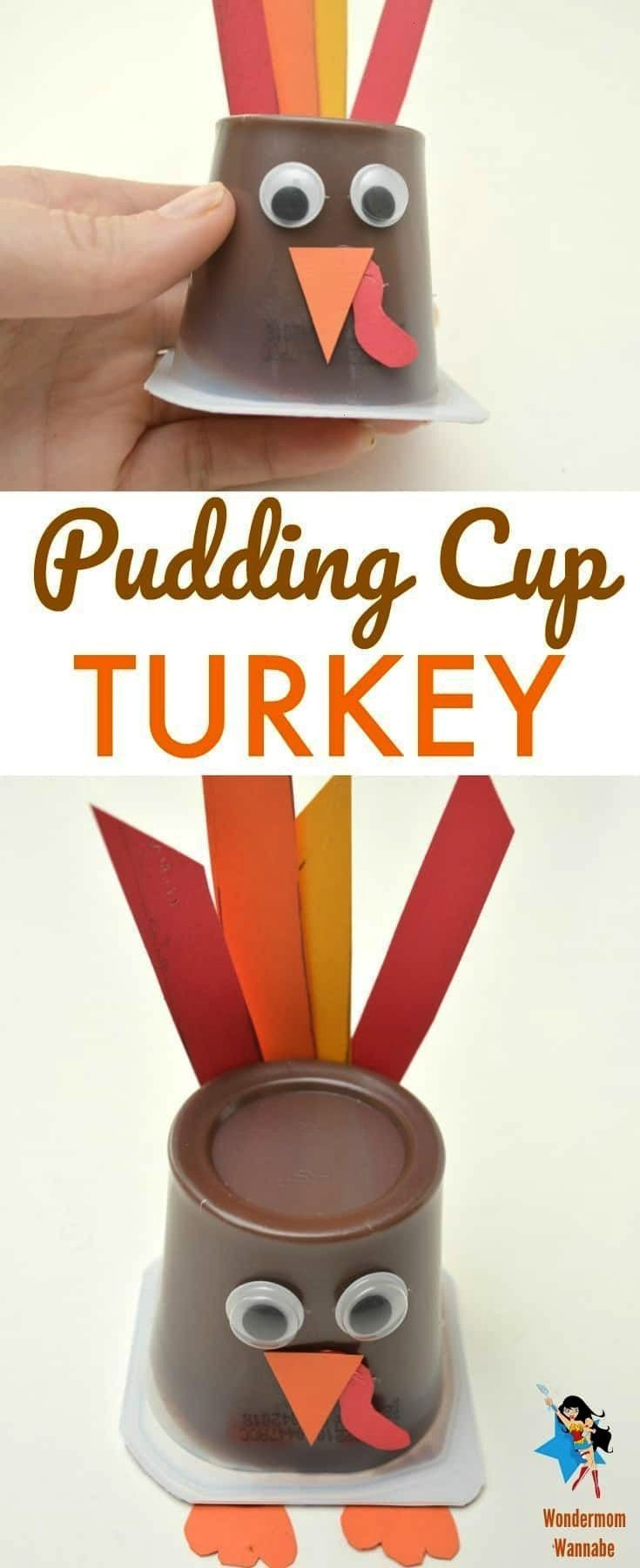 This pudding cup turkey is such an easy craft and a fun treat for a classroom. Thanksgiving with K