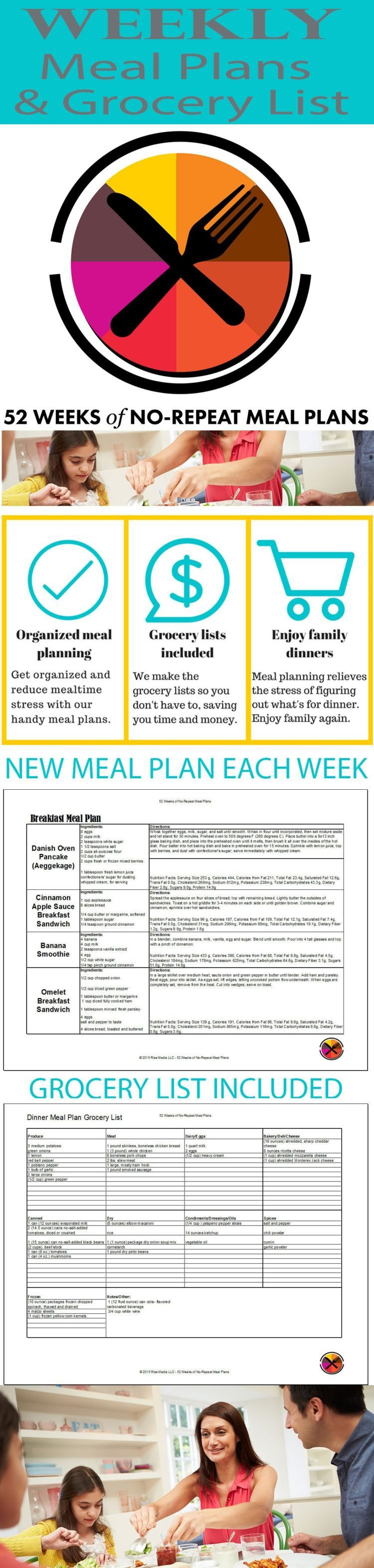 Dinner and Breakfast Meal Plans delivered weekly by email