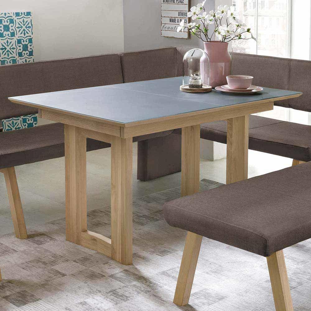 Esszimmertisch aus Eiche Massivholz Grauglas Jetzt bestellen unter ...