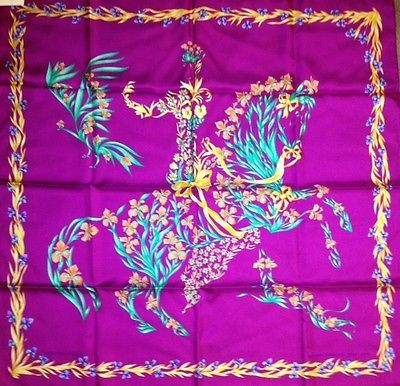 Hermès Cheval Fleuri soie 90 cm by Henri d' Origny   DESIGN HISTORY :  This delightful scene is clearly inspired by the 16th century Italian painter Giuseppe Arcimboldo, a protégé of the Habsburg court. The artist owed his fame to his flair for metamorphosis. A basket of vegetables or fruit, a catch of multiple varieties of fish, or a pile of books, would become a portrait whose true nature remained hidden at first glance. Henri d'Origny makes this virtuoso approach his own, taking a fresh…