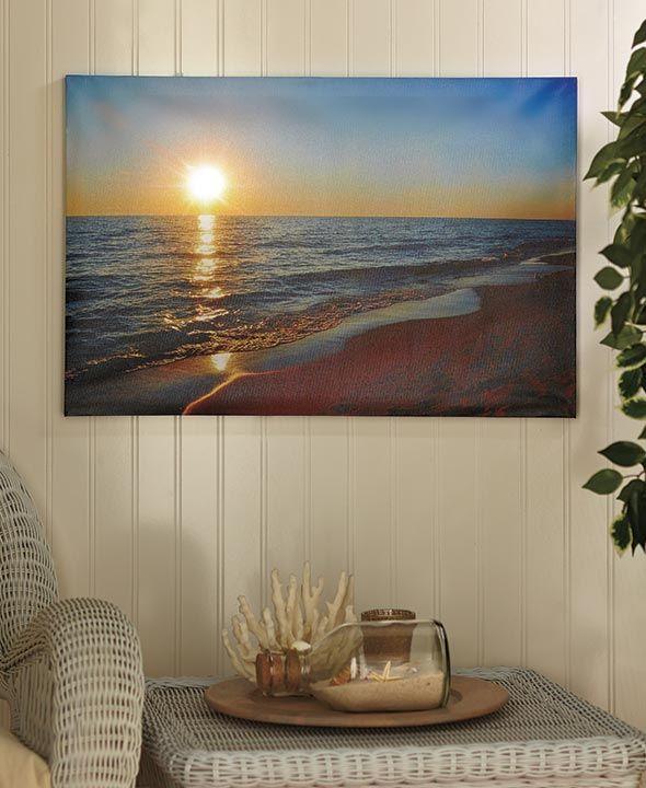lighted scenic canvas wall art beach canvas wall art on canvas wall art id=38189