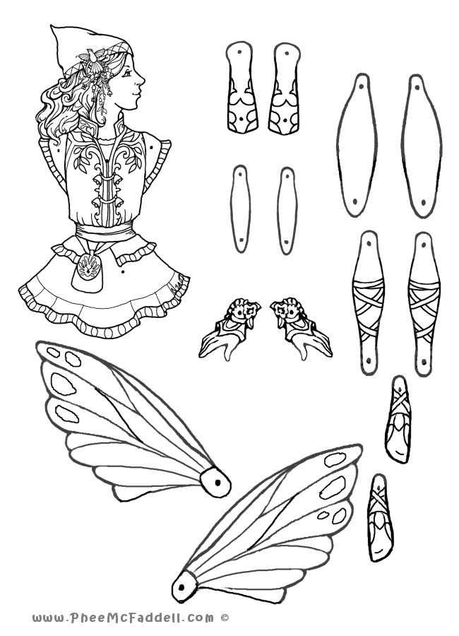 Fairy Puppets Coloring Pages And More Coloriage Pantin Poupees En Papier