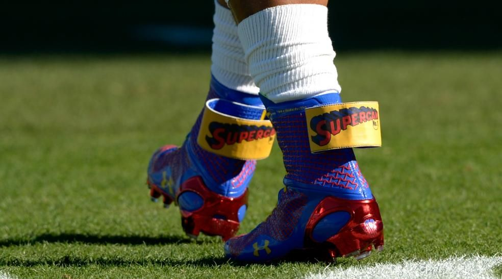 Cam Newton Wears  Super Cam  Cleats Before 49ers-Panthers Playoff Game 4006f40cc7